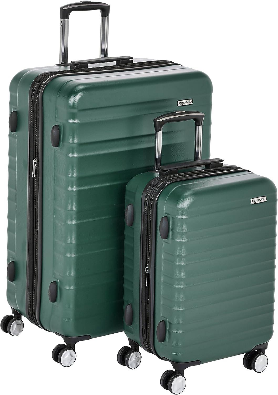 AmazonBasics - Maleta rígida «Hardside» de alta calidad, con ruedas giratorias y cerradura TSA incorporada - Juego de 2 unidades (55 cm, 78 cm), Verde