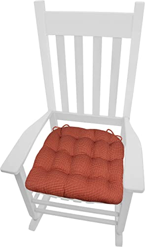 Barnett Home Decor Capri Red Plaid XXL Rocking Chair Seat Cushion w/Tie