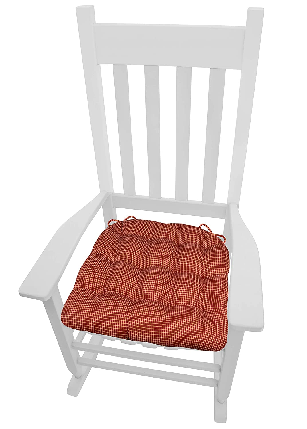 Barnett Home Decor Capri Red Plaid XXL Rocking Chair Seat Cushion w Ties – 100 Cotton – Tufted, Reversible, Machine Washable – Made in USA Jumbo Extra-Extra-Large Red Neutral Check