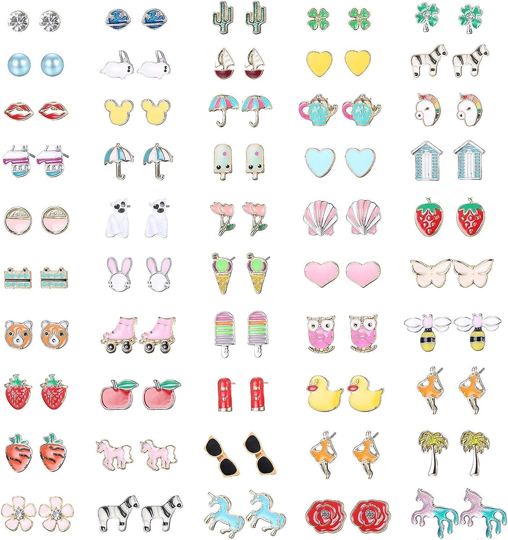 Hanpabum 50 Pairs Stud Earrings for Women Flower Animals Trees Ice Cream Colorful Cute Stainless Steel Earrings Set