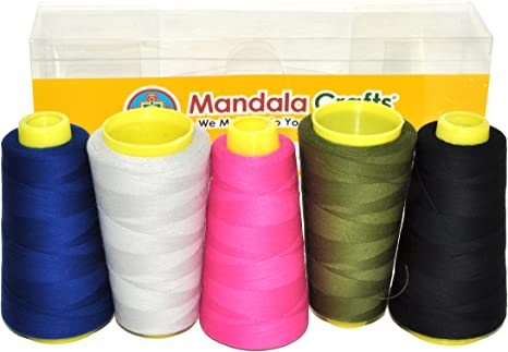 Mandala Crafts Quilting Cotton Thread Cone for Machine and Hand Sewing 2 Rolls 2400 Yards, Hot Pink 50 wt 100 Percent Natural Mercerized
