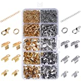eBoot 1000 Pieces Jewelry Findings Kit Iron Fold Over Cord Ends Lobster Claw Clasps Jump Rings Extension Chains for Jewelry Making