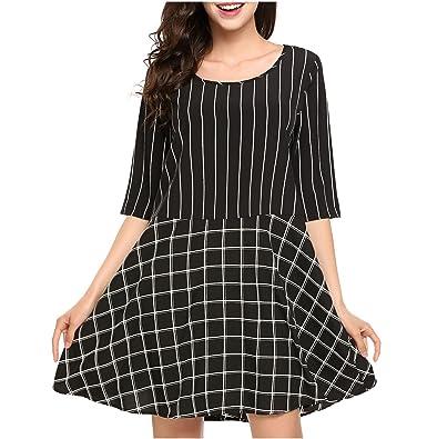 109862cacd Etuoji Women s Striped A-line Loose 3 4 Sleeve Swing Summer Dress at ...