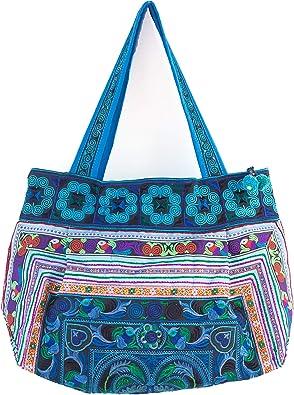 Hmong Purse Blue Birds Hill Tribe Cross-Over Medium Size Embroidered Thai Fair Trade BG304BLUBMS