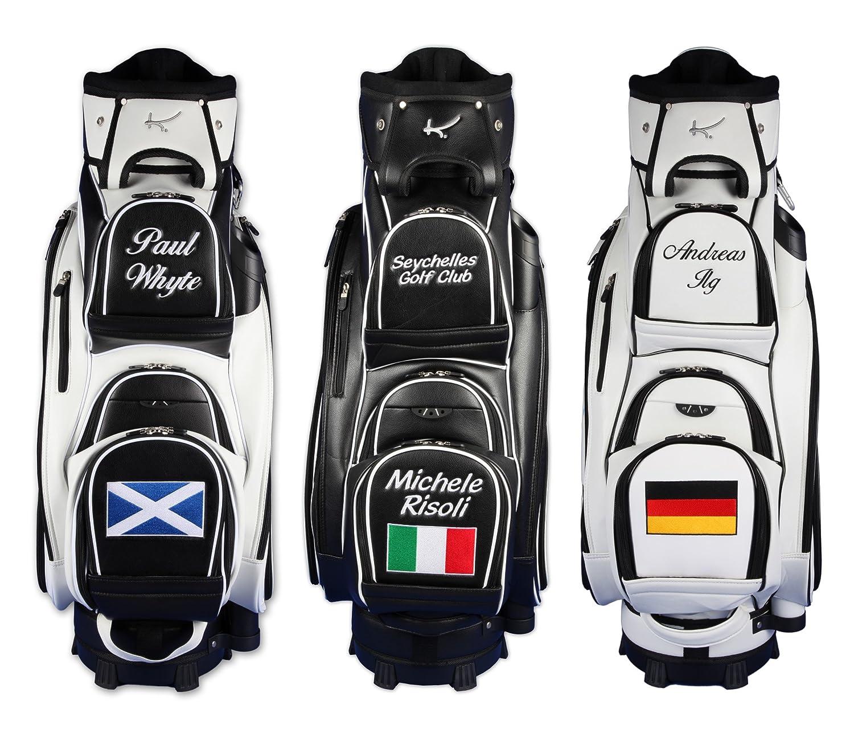 "Kellermann Golf Personalizada: Bolsa de golf de carro MADEIRA ""nombre/bandera"" en negro/blanco"