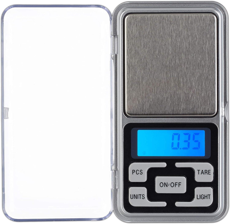Relaxdays Báscula Digital, 200g, Paso de 0,01 g, Función de Tara y recuento, Calibrable, Mini balanza de joyería, Plateado, Acero Inoxidable, Plata, 2.5 x 6.5 x 12 cm
