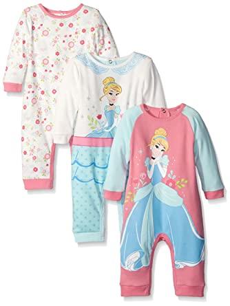 4aea6193f Amazon.com  Disney Baby Girls  3 Pack Coveralls Of Cinderella  Clothing