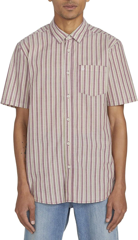 Volcom Mens Duffel Stripe Short Sleeve Woven Button Down Shirt