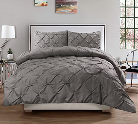 3 Piece Luxurious Pinch Pleat Decorative Pintuck Comforter Set   Highest Quality, Wrinkle Resistant, All Season   Full/Queen, Gray by Sweet Home Collection