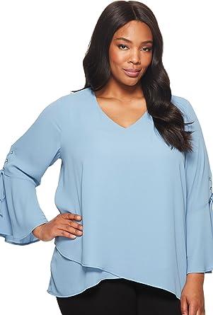 f15ce31b551f6 Karen Kane Plus Women s Plus Size Split Tie-Sleeve Top Powder Blue 0X