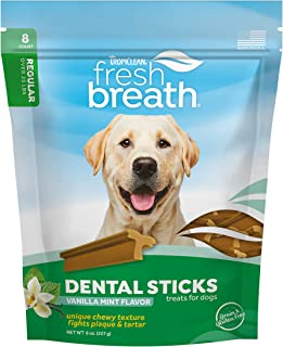 product image for Fresh Breath by TropiClean Dental Sticks for Large Dogs (25+ Pounds), 8ct, 8oz - Made in USA - Removes Plaque & Tartar