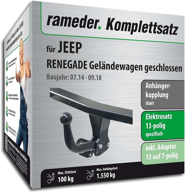 137648-13019-1 Rameder Komplettsatz 13pol Elektrik f/ür Jeep Renegade Gel/ändewagen geschlossen Anh/ängerkupplung starr