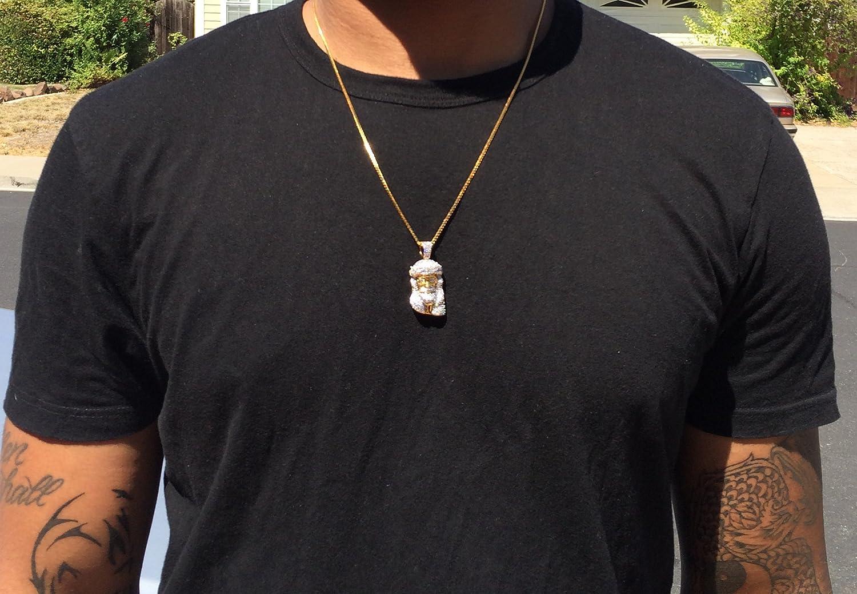 Amazon.com: 18k Gold Micro Cz Stone Hip Hop Jesus Piece Chain ...