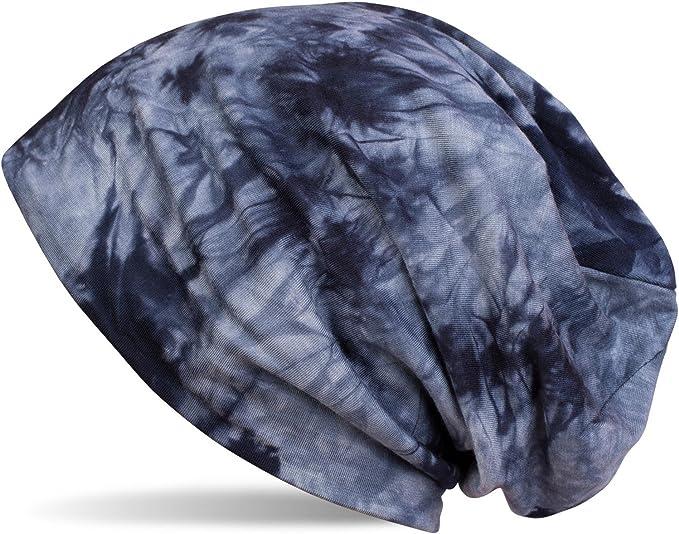 Beanie Mütze mit asymetrischem Guilloche Muster im Destroyed Vintage Look Unisex