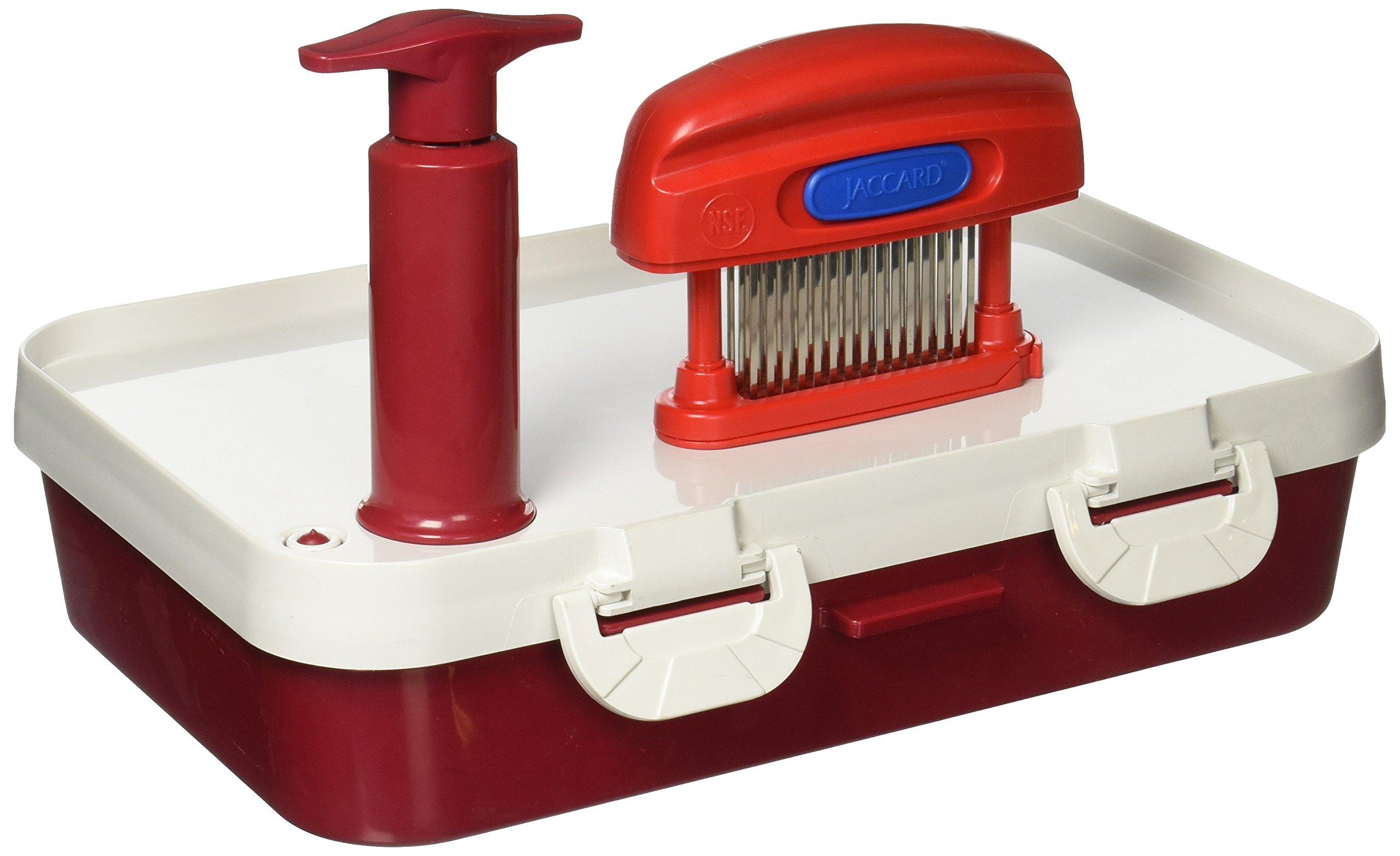 Jaccard Speedy Plus Ultimate Instant Marinater Kit, 15 Knife Meat Tenderizer PLUS Speedy Plus Instant Marinater, 10 by 14'', Red/White by Jaccard