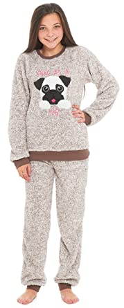 e701c14fb4c7 Slumber Hut® Girls Pug Dog Llama Fleece Pyjamas - Luxury Childrens Animal  Novelty Loungewear Twosie