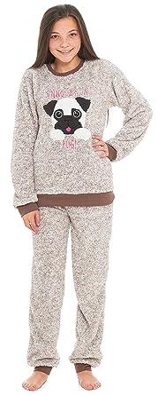5c07b4ffe8d4f Slumber Hut® Girls Pug Dog Llama Fleece Pyjamas - Luxury Childrens Animal  Novelty Loungewear Twosie