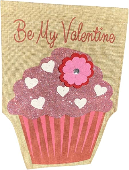 Happy Valentine/'s Day Cupcake House Banner Garden Flag NEW Evergreen Holiday