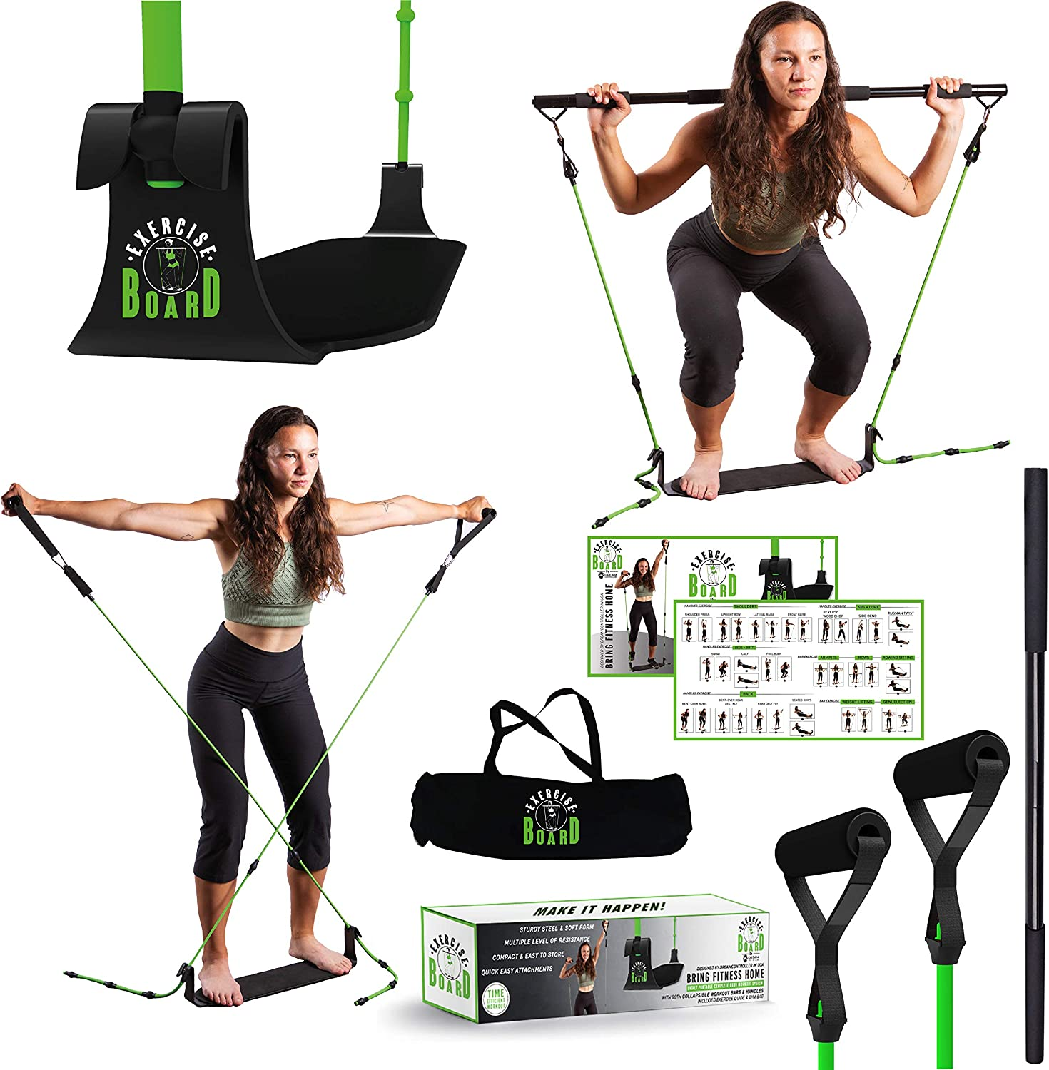 Fit core workout board exercise & fitness home gyms 3 in 1 At home workout equipment for women kit-Exercise Board with Bar & leg resistance bands for working out-Exercise bands with handles