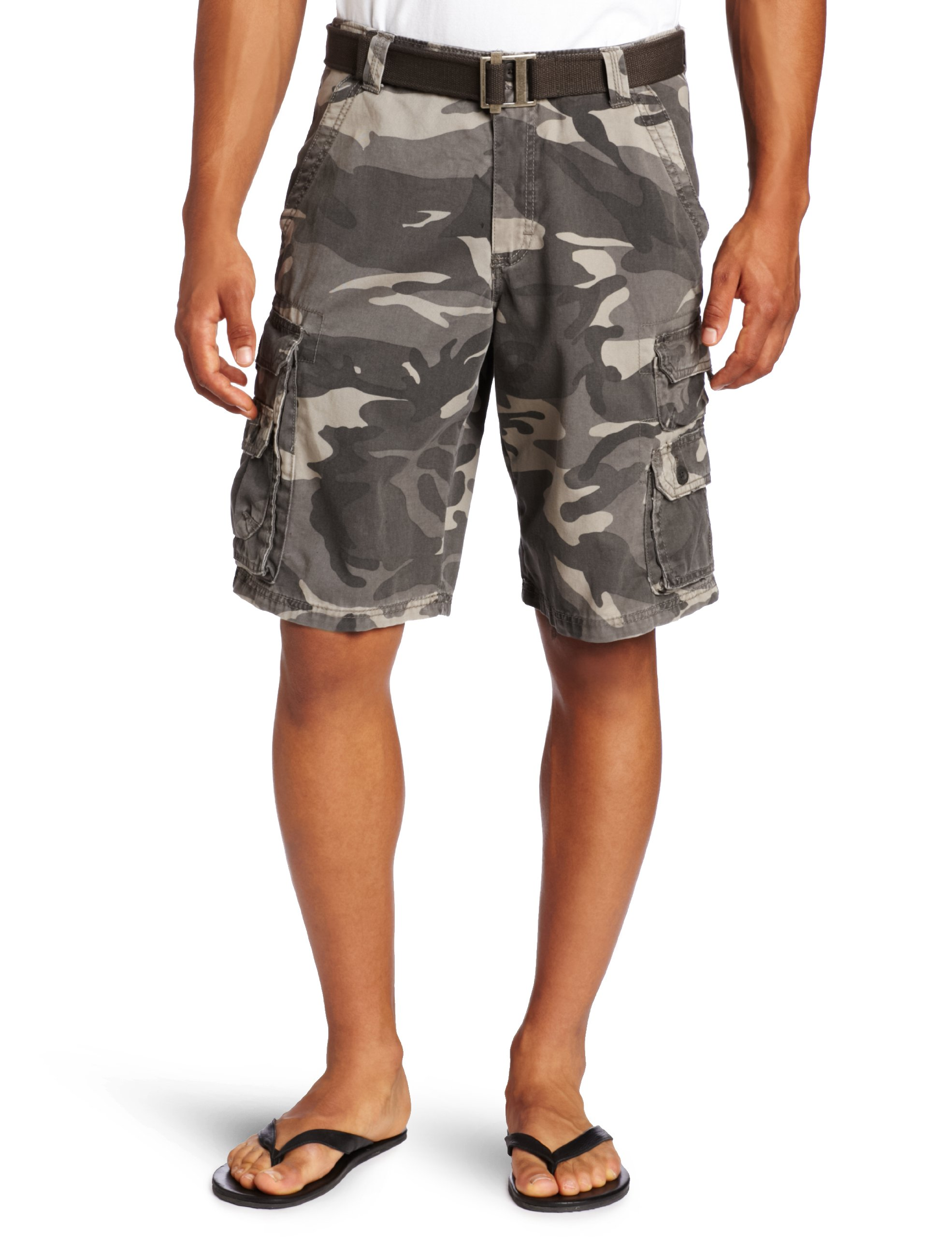 LEE Men's Dungarees Belted Wyoming Cargo Short, Ash Camo, 34