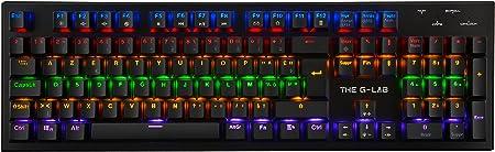 THE G-LAB - Keyz CARBON V2 - Teclado Mecánico Gamer QWERTY- Incluye Ñ - Switch Azul Teclado de Alta Calidad - Teclado Gaming Retroiluminado LED, ...
