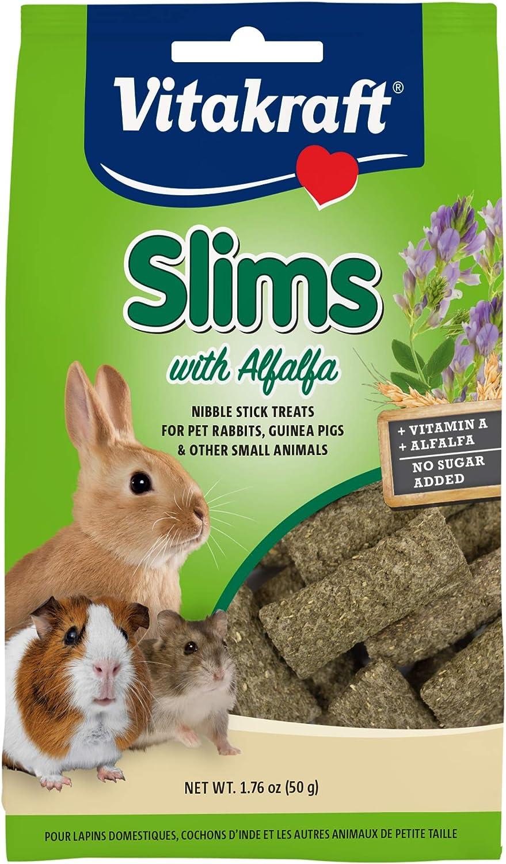Vitakraft Slims with Alfalfa Rabbit, Guinea Pig & Small Animal Nibble Stick Treat, 1.76 oz