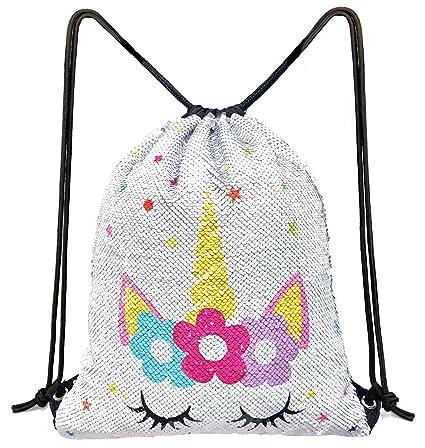 480bcbb96c5c Unicorn Sequin Drawstring Backpack Bling Beach Hiking Bags (White Star)