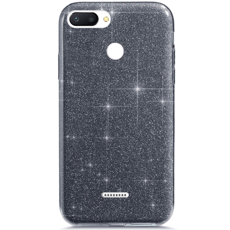 YSIMEE Compatibile con Cover Xiaomi Redmi 6 Custodia,Custodie Glitter Bling Scintillante Brillantini Tre Strati Ultra Sottile Morbida Silicone Gel Trasparente Bumper Gomma Protettiva,Argento