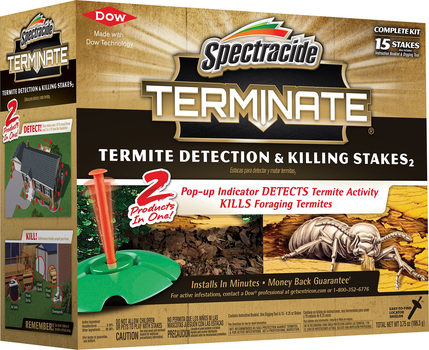 Spectracide 96115-1 Terminate Termite Detection & Killing Stakes, 15-Count, 6-Pack, Case Pack of 6 by Spectracide