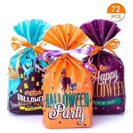GWHOLE 72 Piezas Bolsa de Dulces Halloween con Cuerda, Bolso Divertido Halloween de Caramelo Galleta Regalo de Chocolate para Fiestas Bolsa de ...