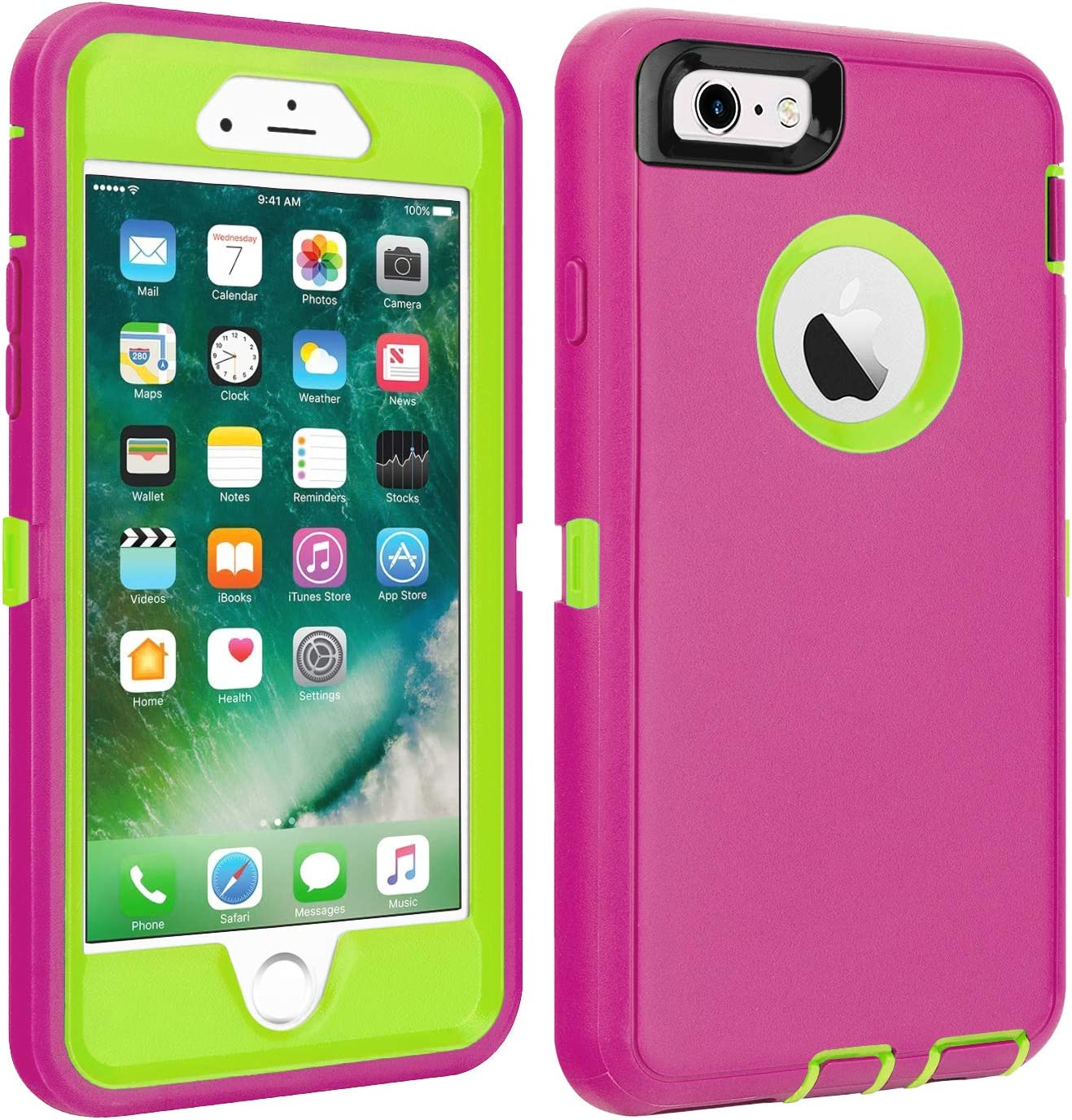 """iPhone 6/6S Case Shockproof High Impact Tough Rubber Rugged Hybrid Case Silicone Triple Protective Anti-Shock Shatter-Resistant Mobile Phone for iPhone 6/6S 4.7""""(Pink)"""