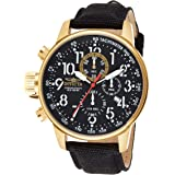 Invicta Men's I Force 46mm Quartz 14k Gold Plated Watch with Black Canvas Band Watch, Black (Model: 1515)