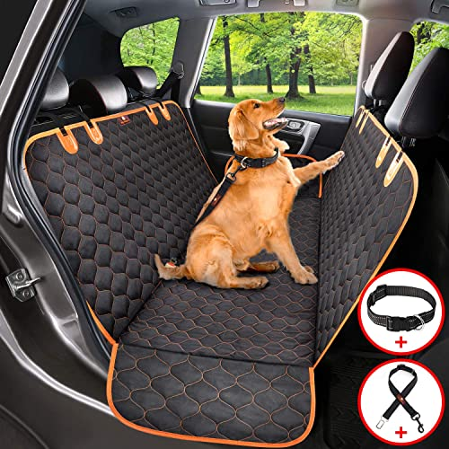 Dog Car Seat Cover Protector Thicken, Waterproof Nonslip Pet Seat Cover, Hammock Heavy Duty Scratch-Proof Back Seat Cover Mattress for Dogs Fits Most Cars Trucks SUVs Seat Belt Dog Collar Included