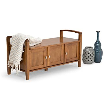 Simpli Home Warm Shaker Solid Wood Entryway Storage Bench