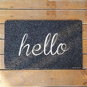 LAN SHAN QUE Hello Door Mat Welcome Mat Non Slip Rubber Backing Outdoor Doormat Super Absorb Mud Garden Patio High Traffic Areas Front Door Entrance Mats for Home Indoor
