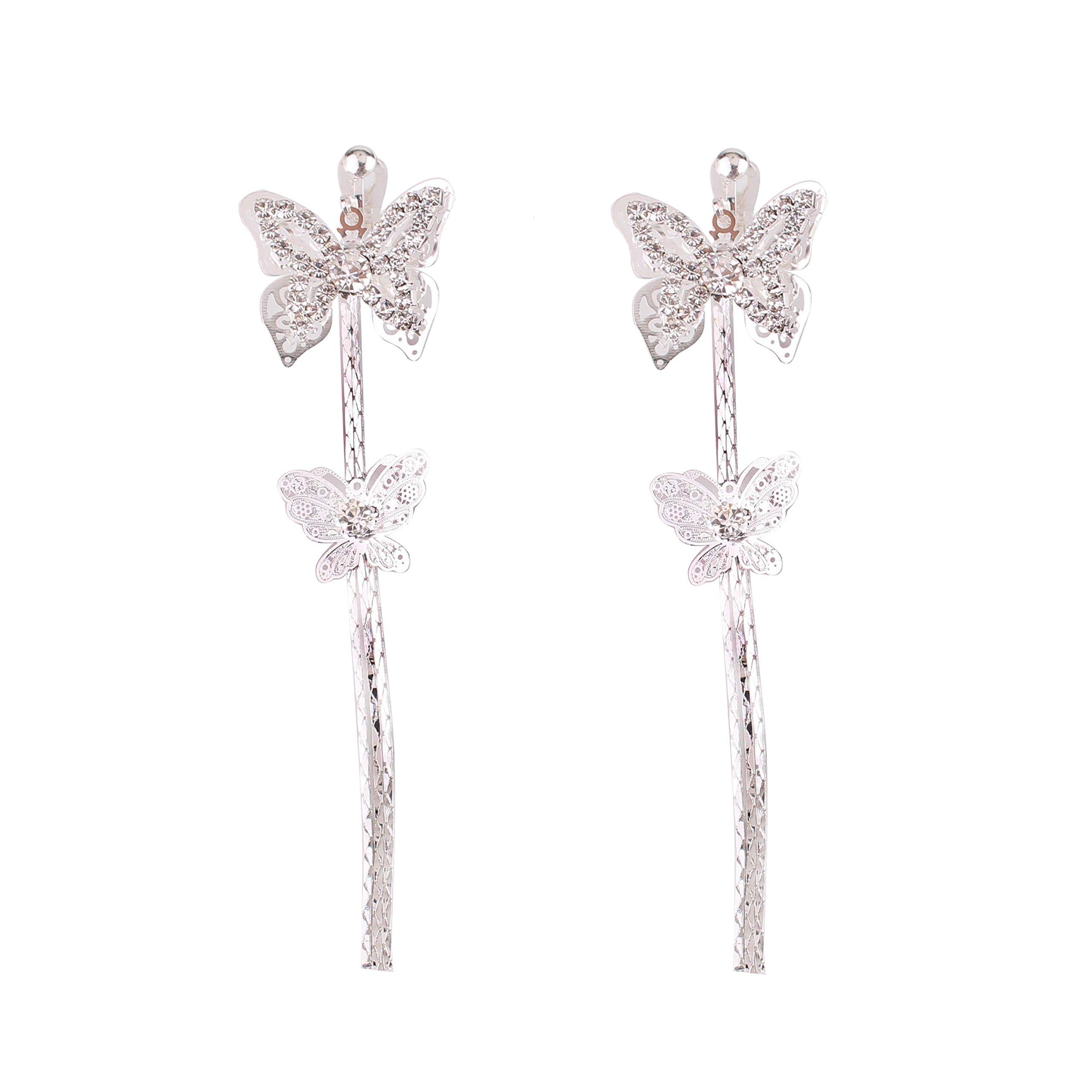 Grace Jun Bridal Rhinestone Double Butterfly Clip on Earrings Non Piercing for Women Large Statement Earrings (silver ear clip)