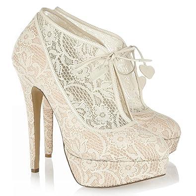 9bb9abb7752f59 L@YC Femmes Talons Hauts Sexy Blanc Dentelle Plate-Forme de Mariage  Sandales de Mariée Escarpins Et Abricot Satin: Amazon.fr: Chaussures et Sacs