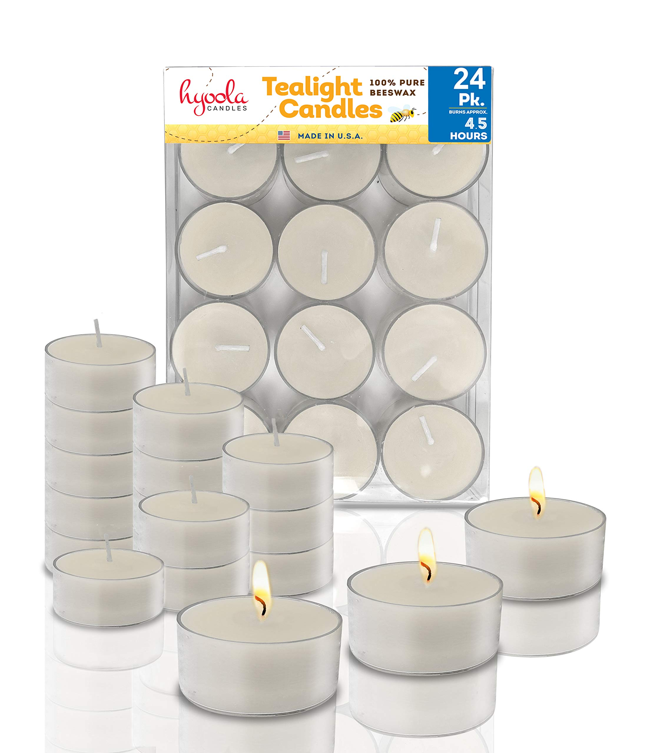 Pure White Beeswax Tea Lights - 24 Pack - Handmade Decorative Unscented - Tealight Candles - 4 Hour Burn Time, Clear Cup by Hyoola
