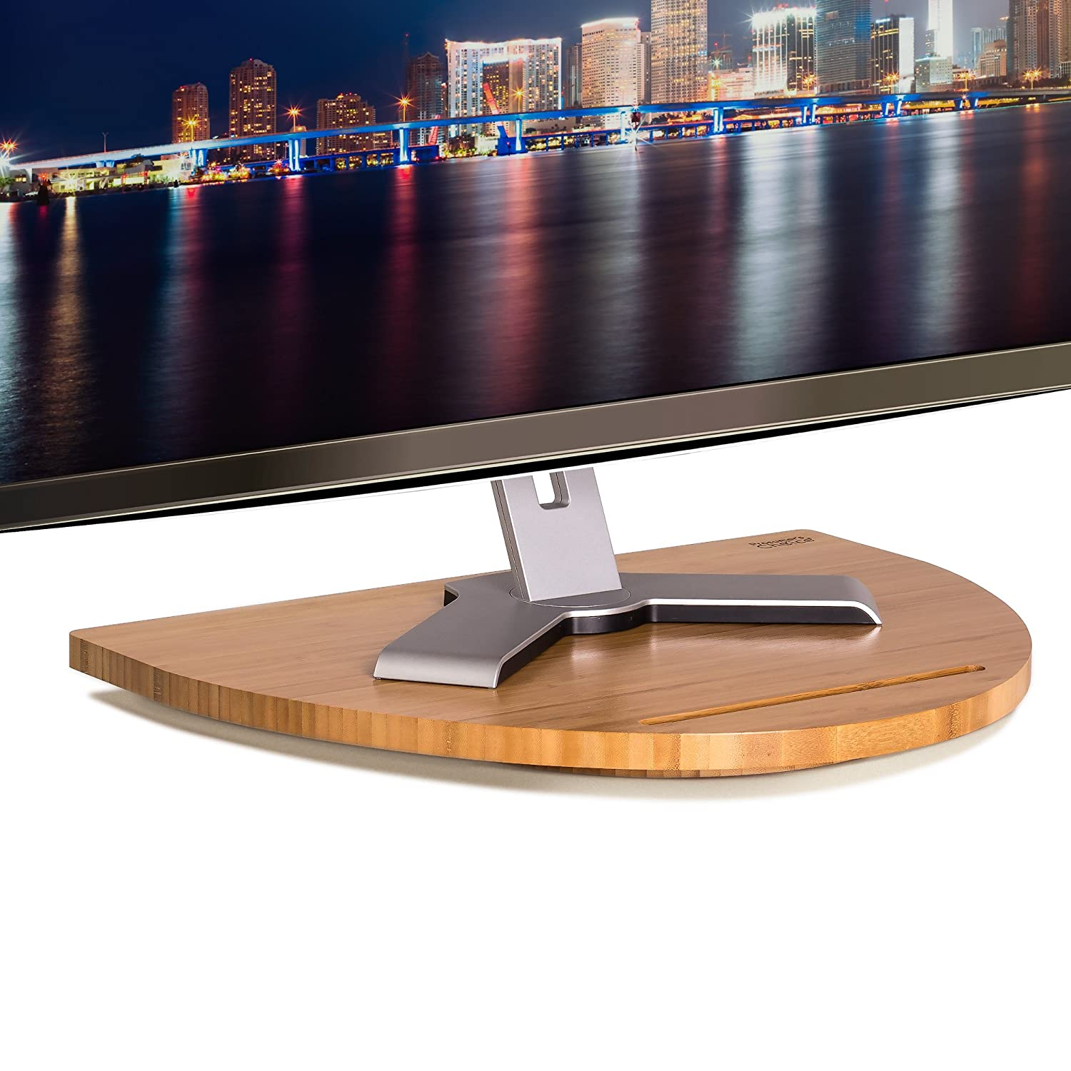 Prosumer' s Choice Natural Bamboo TV Swivel Stand for TV, 21 inch Base Black Aleratec