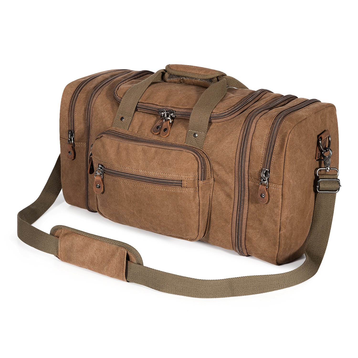 Plambag Canvas Duffle Bag for Travel, Oversized Duffel Overnight Weekend Bag(Coffee)