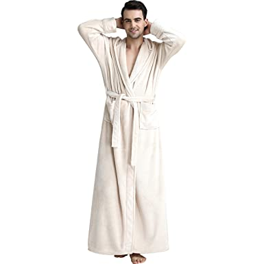 Image Unavailable. Image not available for. Color  Mens Winter Hooded Extra  Long Warm Flannel Bathrobes Luxury Plush Fleece Robe c1ff92639