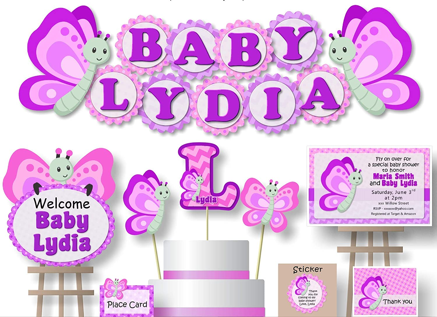 Amazon Com Personalized Pink Lavendar Butterfly Baby Shower Decorations For Girl Banner With Optional Cake Topper Centerpiece Welcome Sign Favor Tags Or Stickers Thank Yous Handmade In Usa Bcpcustom Handmade