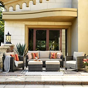 XIZZI Patio Furniture, Outdoor Garden Sofa sectional, Wicker Patio Furniture with Wather Resistant Cushion and 2 Pillows (Beige)