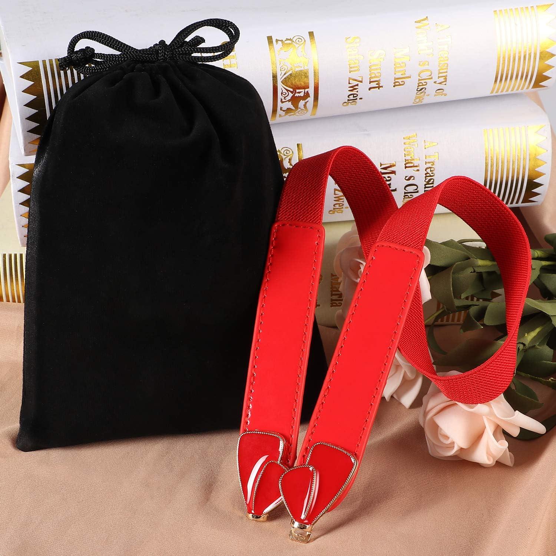 Tacobear 3 Pezzi Cintura Donna Cintura Pelle Eleganti Sottile Cinture con Metallo Fibbia Morbido Moda Nodo Vita Cintura Elastico Cintura per Vestito Jeans Pantaloni Gonna