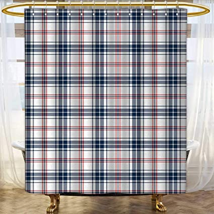 Anhounine Plaid Shower Curtain Collection By Traditional Checkered British Country Pattern With Geometric Design Bathroom Accessories