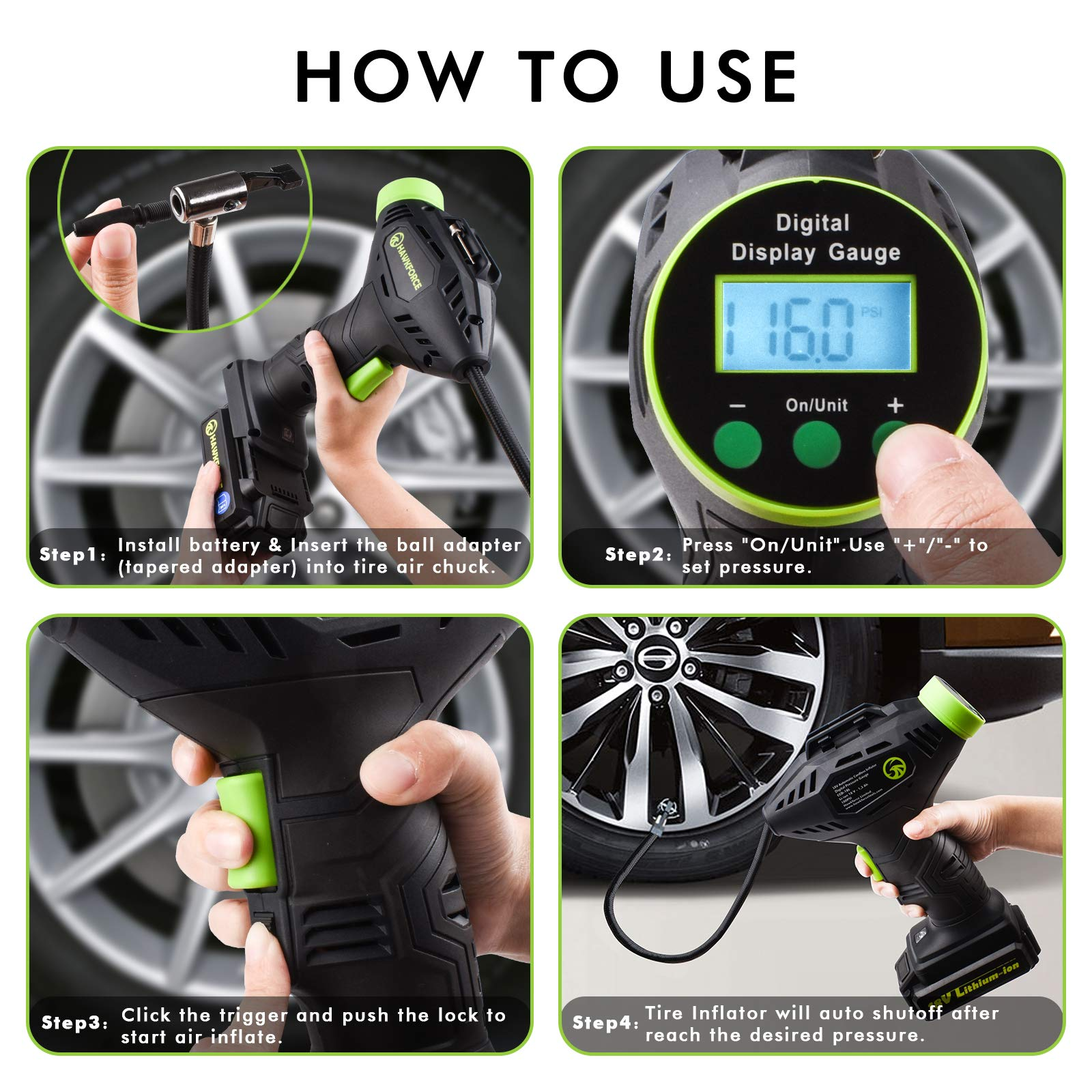 Tire inflator, Hawkforce Cordless Portable Air Compressor Automatic Car Tire Air Pump with Easy to Read Digital Pressure Gauge, Built-in LED Light and 2 Needles