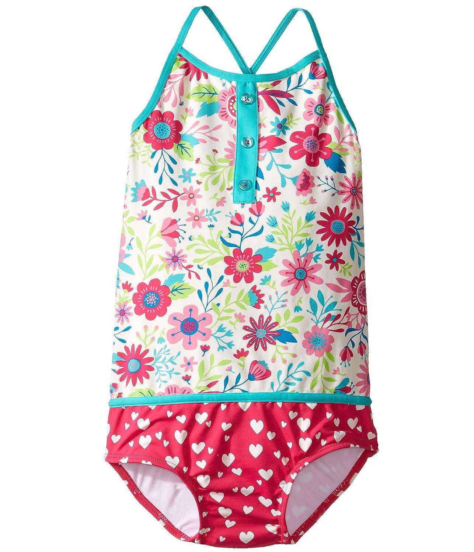 [ハットレイ] Hatley Kids ガールズ Wallpaper Flowers Color Block Swimsuit (Toddler/Little Kids/Big Kids) 水着 [並行輸入品] 3T Toddler ホワイト B01N4WHQM9