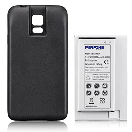 Perfine Battery 7800mAh Compatible with Samsung Galaxy S5 i9600, Extended Battery EB-BG900BBC with NFC for I9600, G900F, G900 Battery+Black TPU ...