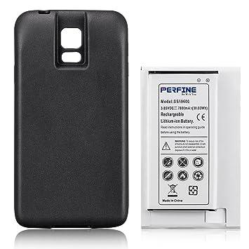 Perfine Batería Galaxy S5 7800mAh EB-BG900BBC Batería extendida para Galaxy S5 i9600 G900F G9009D Batería de reemplazo NFC con Estuche de protección ...