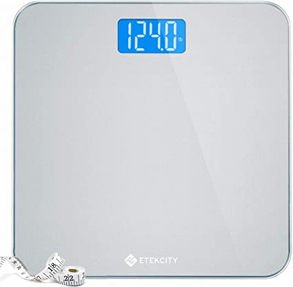 Amazon Com Etekcity Digital Body Weight Bathroom Scale With Body Tape Measure And Round Corner Design Large Blue Lcd Backlight Display High Precision Measurements 400 Pounds Health Personal Care